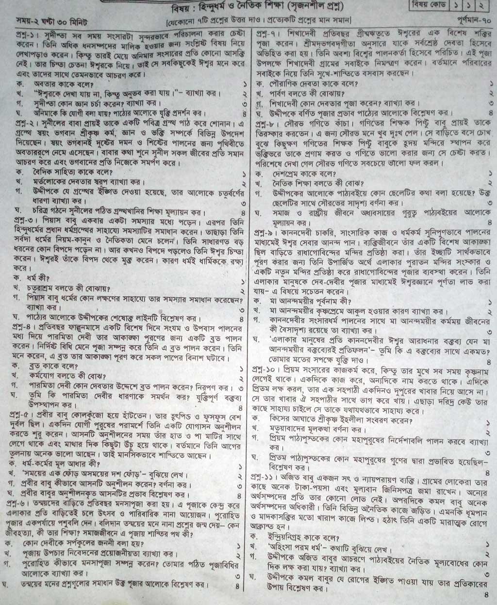 JSC Hindu Dharma Model Question