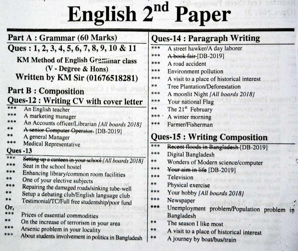 SSC English 2nd Paper Suggestion