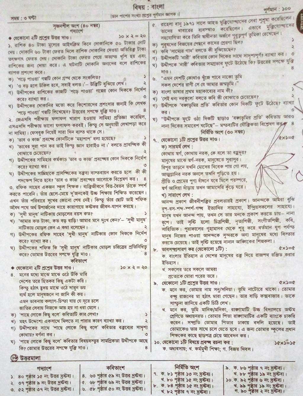 JSC Bangla 2nd Paper Model Question