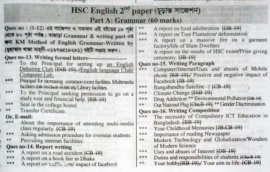 HSC English 2nd Paper Suggestion